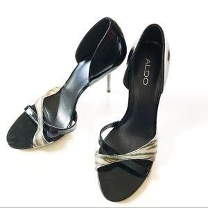 ALDO Patent Leather Black Animal Print Sandal Pump